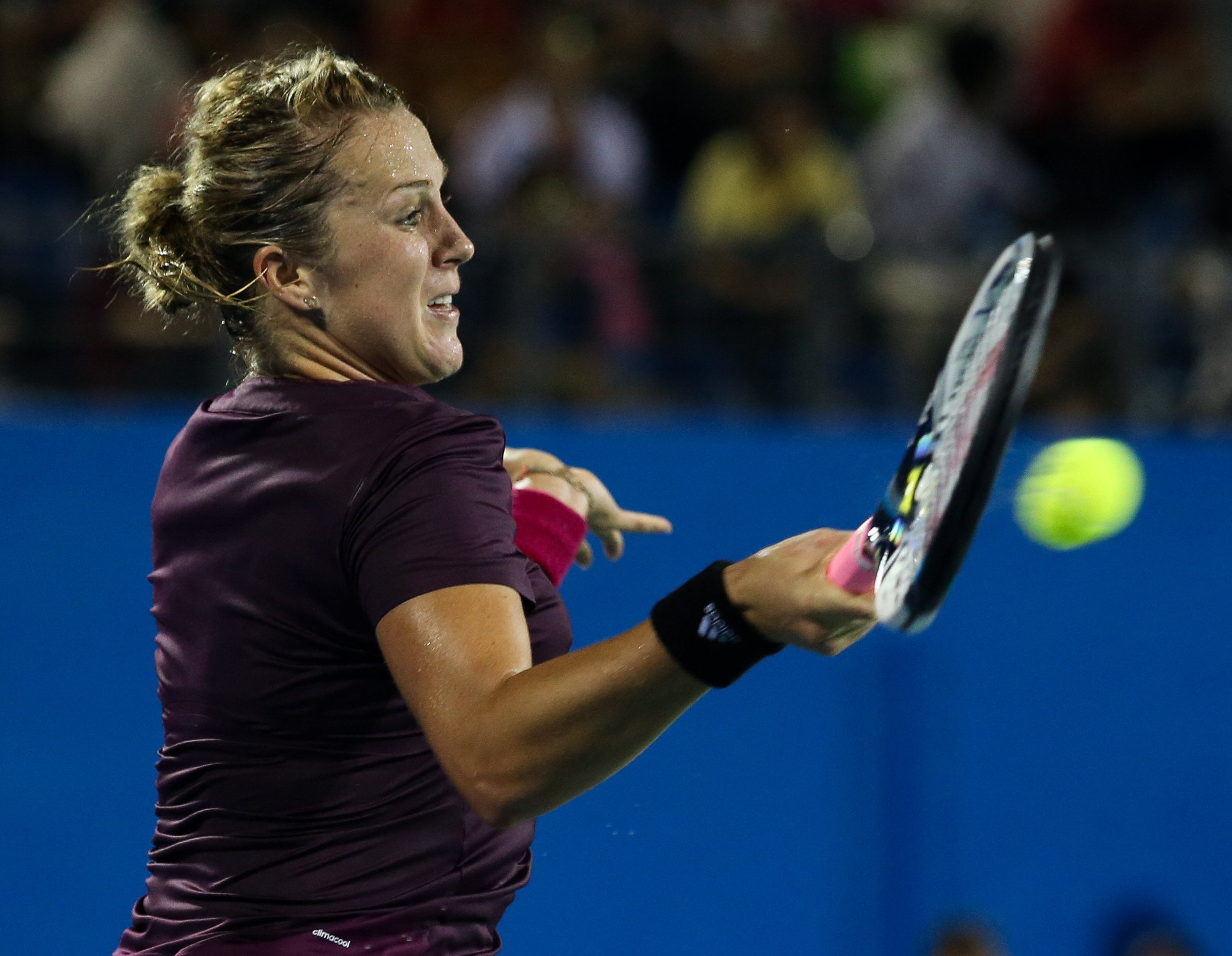 Anastasia Pavlyuchenkova upset No. 5-seed Ana Ivanovic after she retires, down 5-7, 5-6.