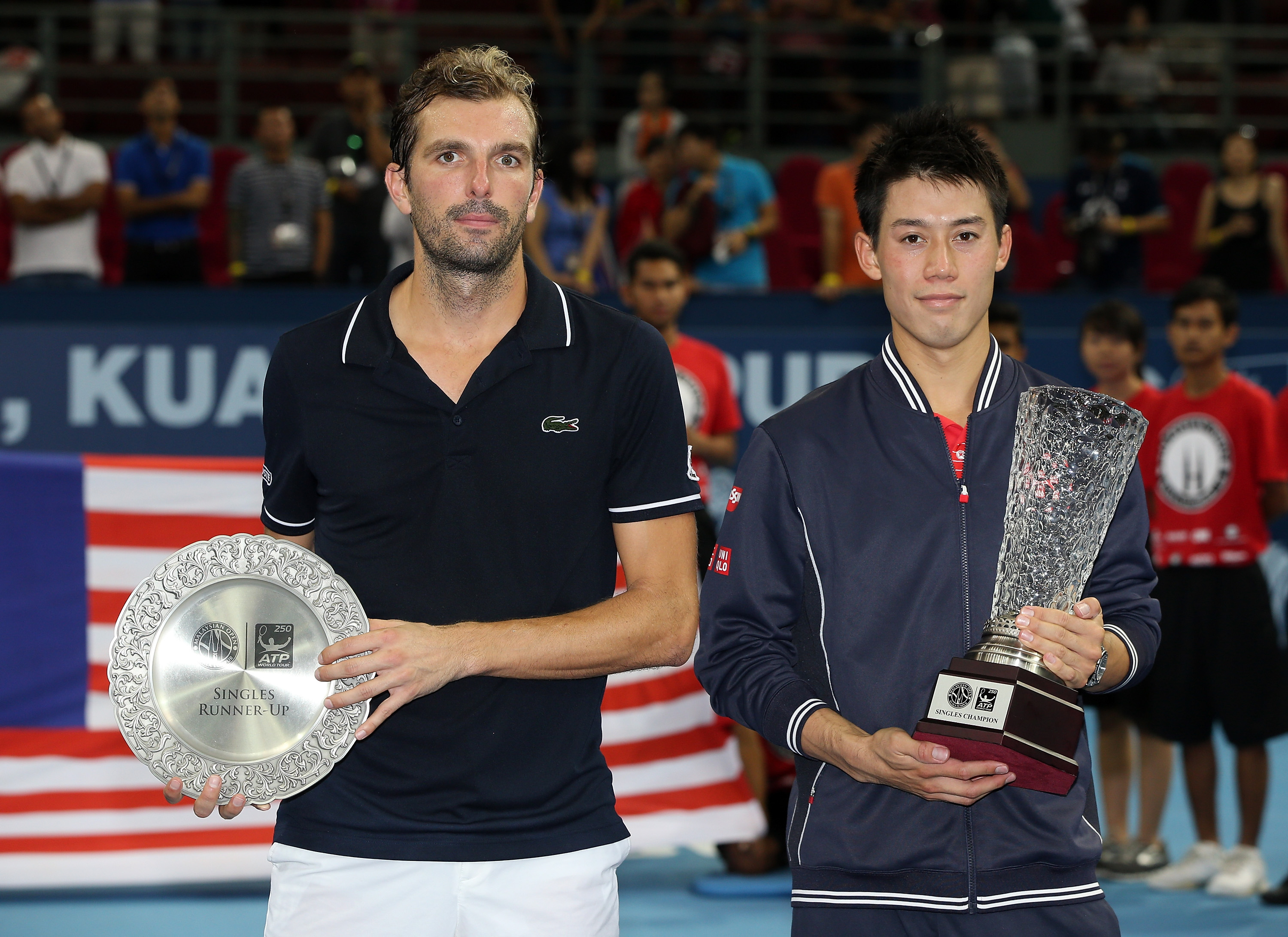 Kei Nishikori defeated Julien Benneteau in Kuala Lumpur for his third title of the season.