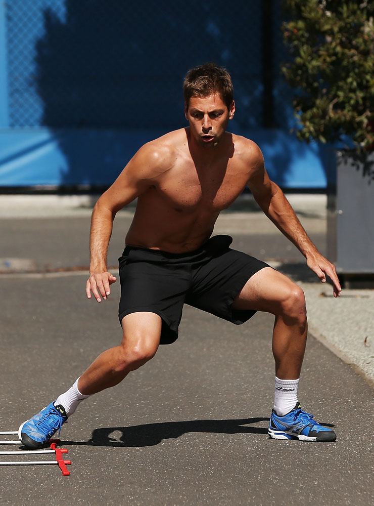 Gregoire Burquier trains ahead of the 2014 Australian Open at Melbourne Park in January 2014.