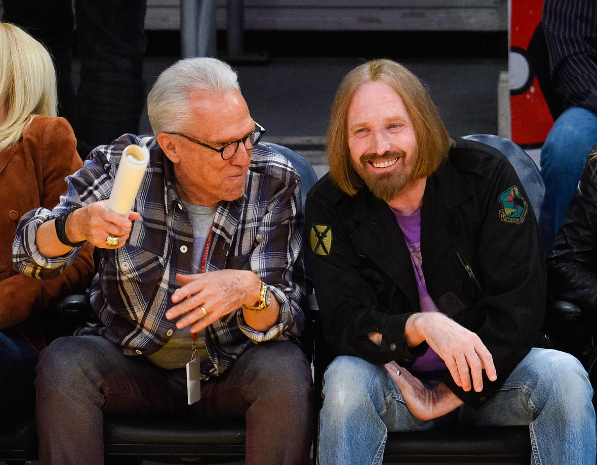 A rare sighting of singer Tom Petty at a Los Angeles Lakers game.