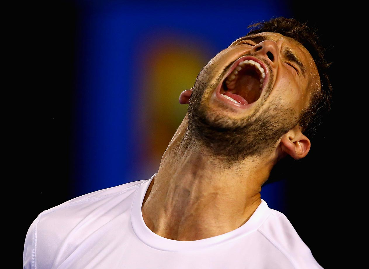 Grigor Dimitrov of Bulgaria celebrates a point in his match against Andy Murray during the Australian Open.