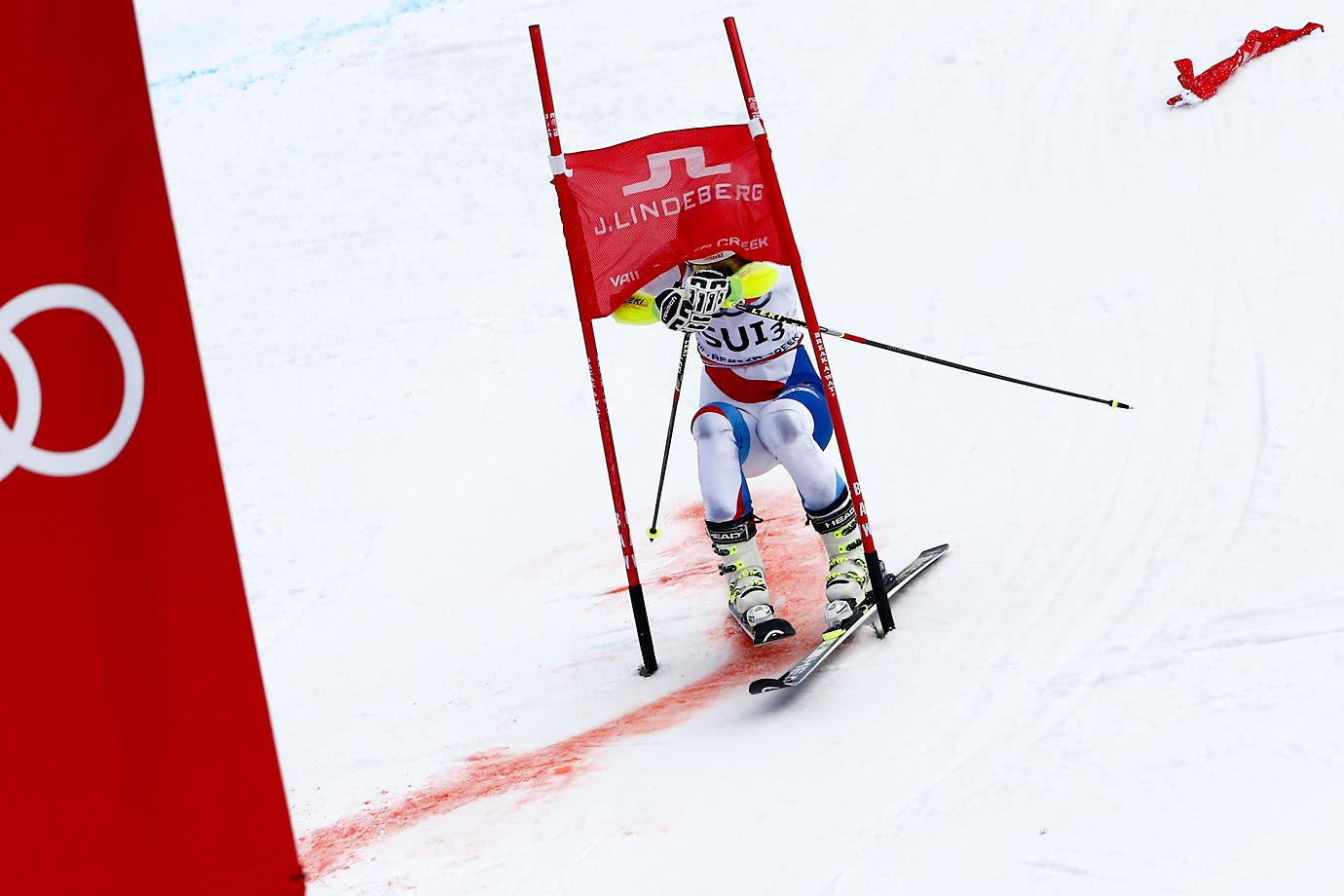 Wendy Holdener of Switzerland decides to take a shortcut during the FIS Alpine World Ski Championships.