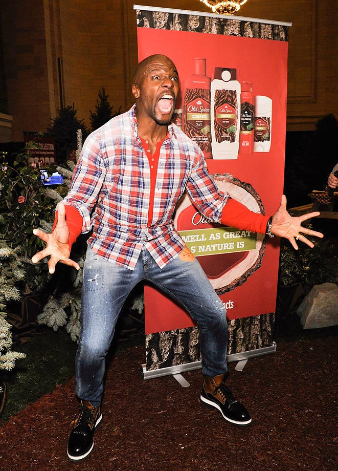 Terry Crews shows his excitement at the Old Spice Fresher Collection Launch at Vanderbilt Hall in New York City.