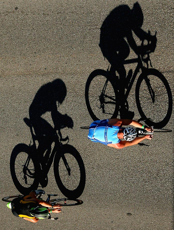 Riders along Marine Parade during the Bike leg of the Elwood Gatorade Triathlon in Melbourne, Australia.