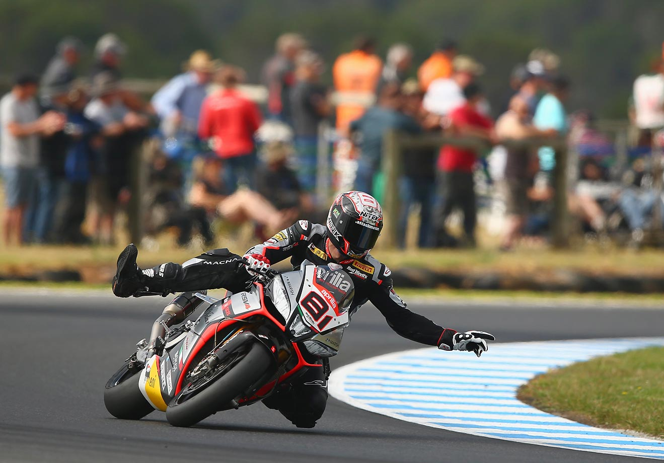 Jordi Torres of Spain rides no-hands during practice for the World Superbikes World Championship Australian Round at Phillip Island Grand Prix Circuit.