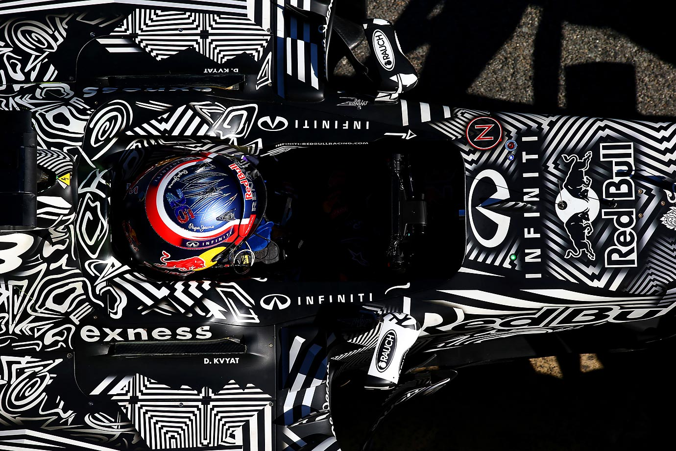 An overhead shot of Daniil Kvyat during day four of the Formula One Winter Testing at Circuit de Catalunya in Spain.