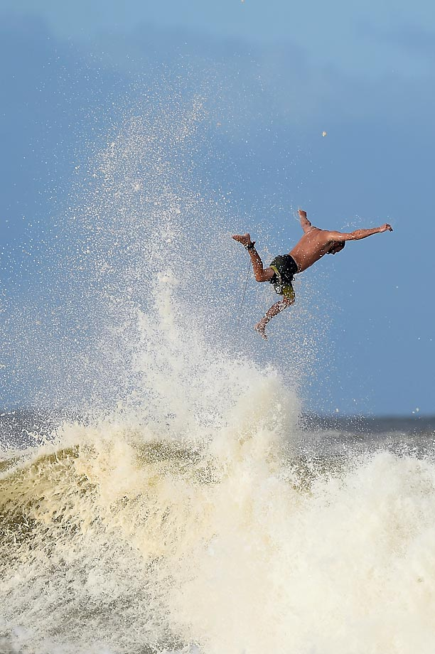 This surfer loses grip of his board at Snapper Rocks on the Gold Coast of Australia.