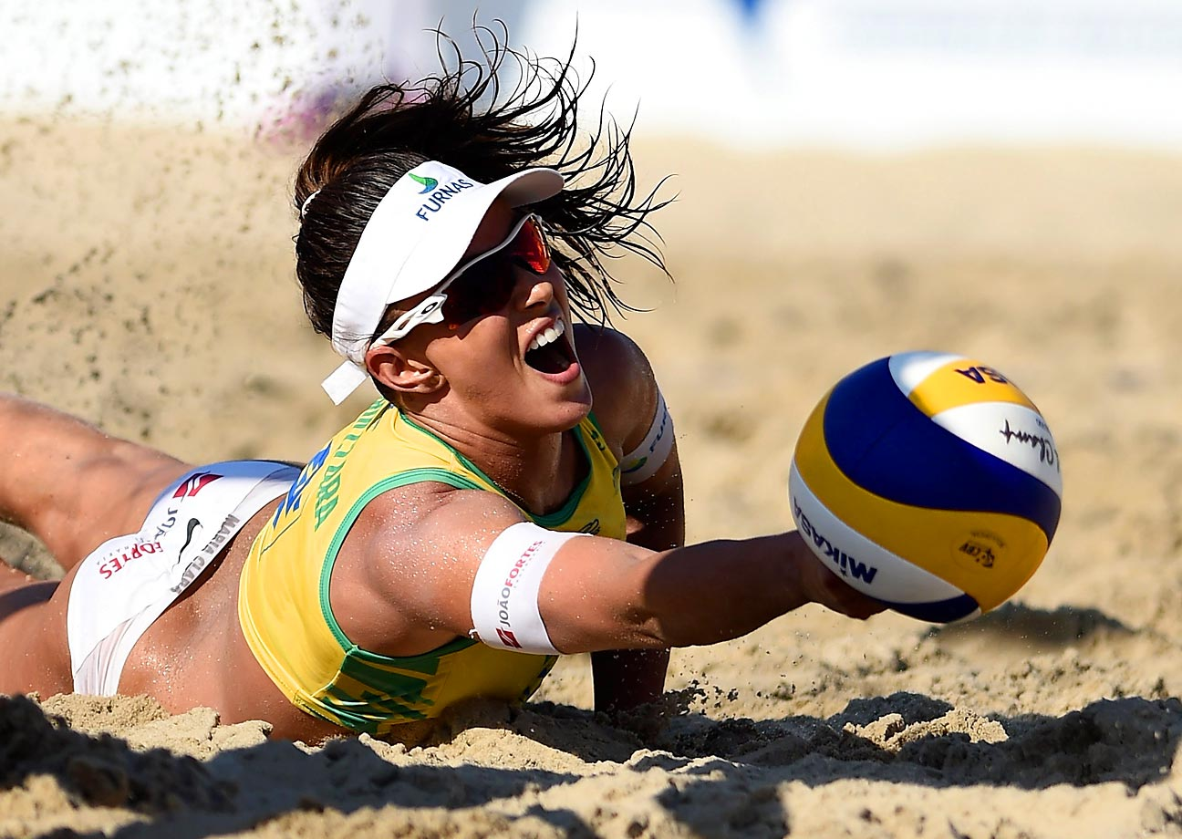Maria Clara Salgado of Brazil in action during her match against Lauren Fendrick and Brooke Sweat of the United States at the Beach Volleyball International Challenge at Copacabana beach.