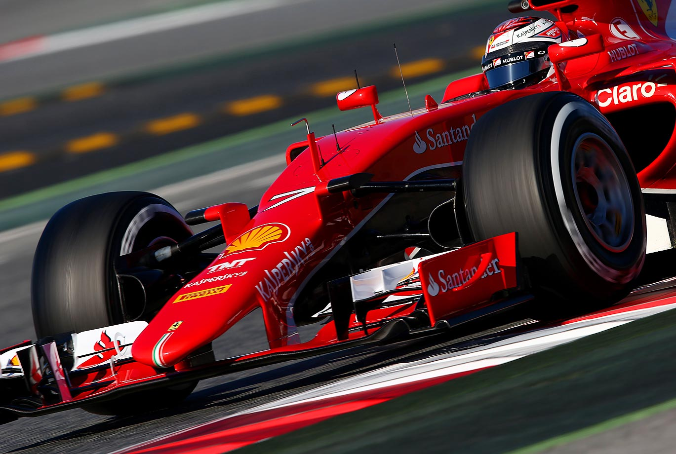 Kimi Raikkonen of Finland and Ferrari drives during day three of the final Formula One Winter Testing at Circuit de Catalunya in Montmelo, Spain.