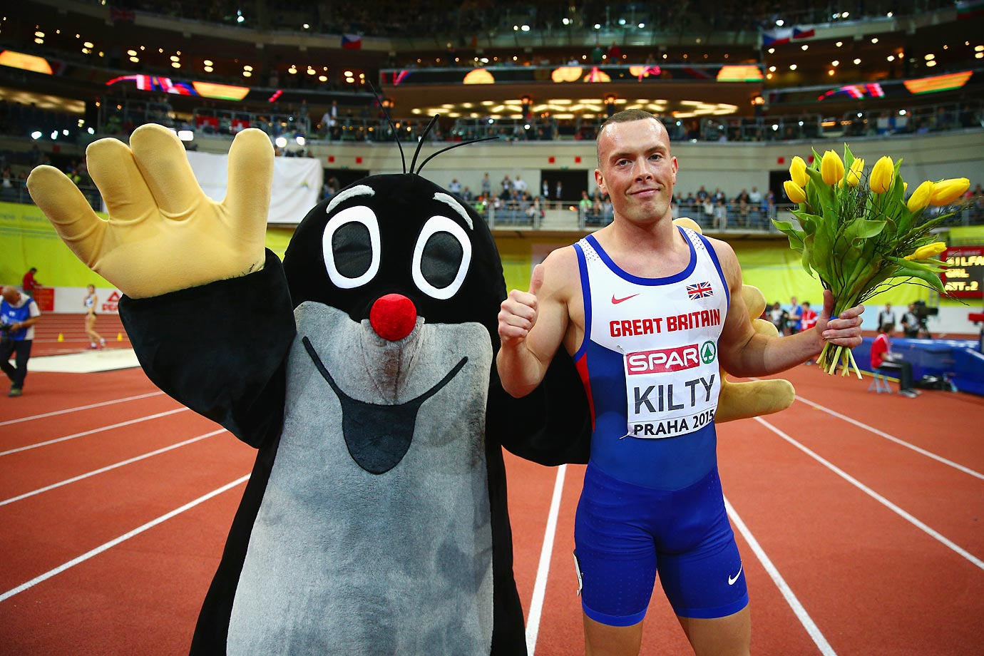 Richard Kilty of Great Britain & Northern Ireland won gold in the 60-meter final at the 2015 European Athletics Indoor Championships.