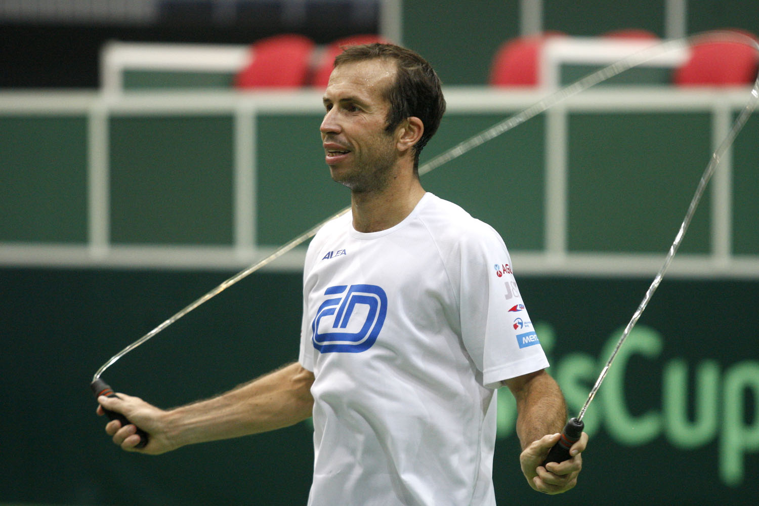 Radek Stepanek works out during a training session for the Davis Cup in Ostrava, Czech Republic.