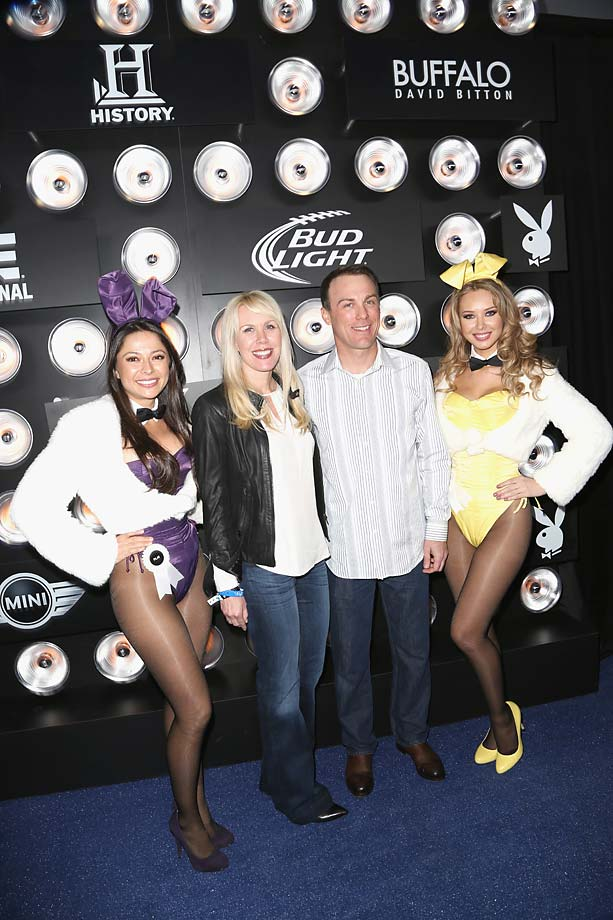 Playboy Playmate Miss August 2004 Pilar Lastra, DeLana Harvick, Kevin Harvick and Playboy Playmate Miss September 2011 Tiffany Toth attend The Playboy Party at The Bud Light Hotel Lounge in January 2014, ahead of the Super Bowl.