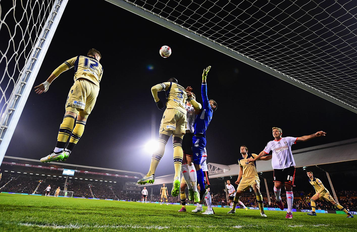 Souleymane Bamba (3) and goalkeeper Marco Silvestri of Leeds United defend their during the Sky Bet Championship match between Fulham and Leeds United in London.