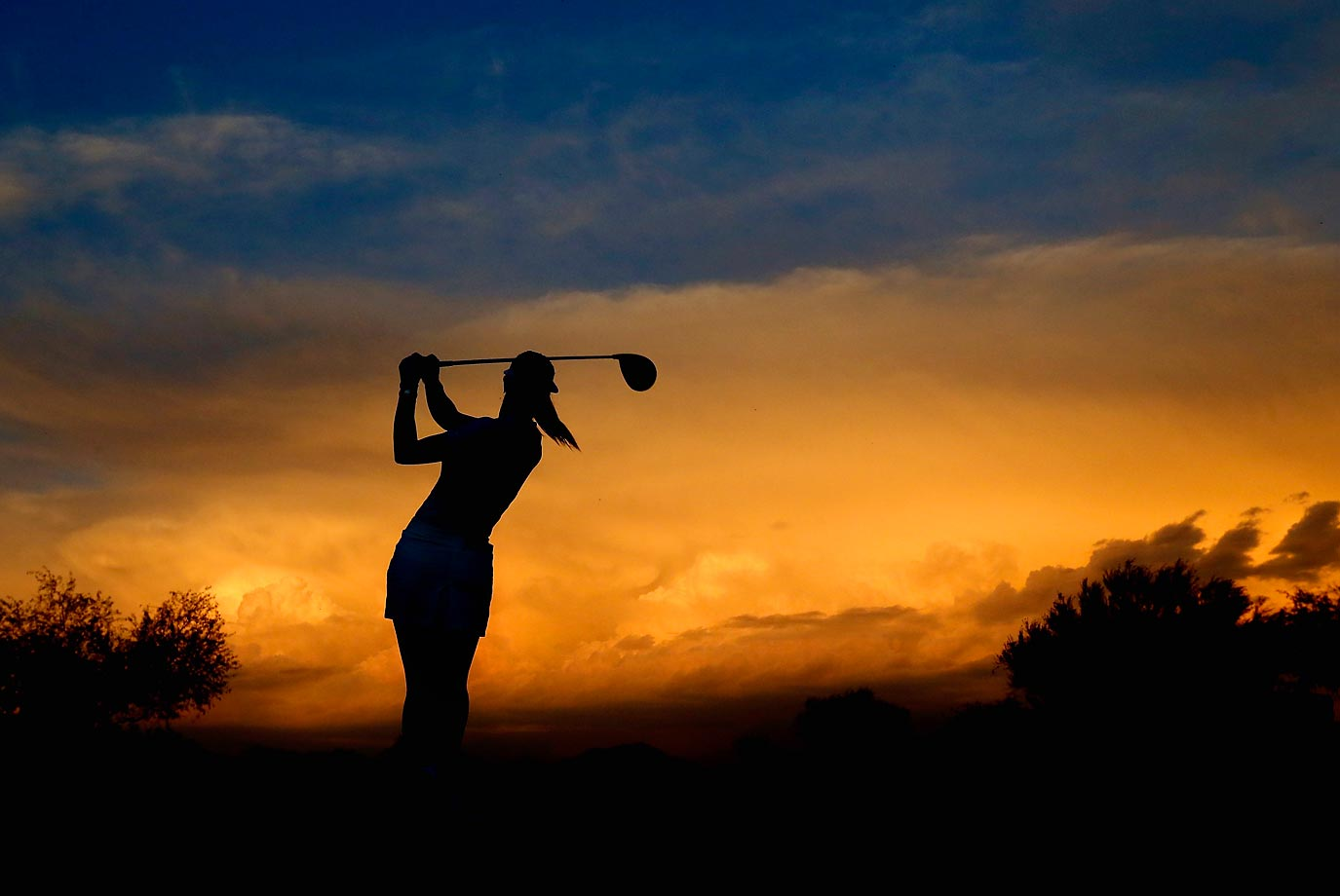 Michelle Wie hits a tee shot on the 10th hole during the second round of the LPGA Founders Cup at Wildfire Golf Club in Phoenix.