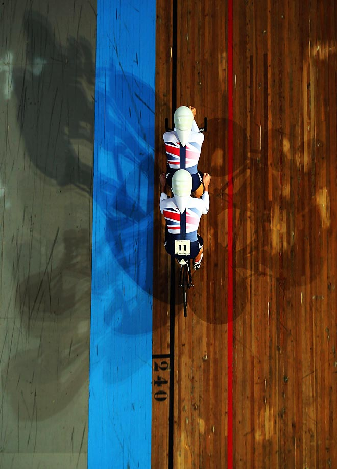 Steve Bate and Adam Duggleby of the Great British Cycling Team pedal in unison during qualifying for the B 4km Pursuit at the UCI Para-cycling Track World Championships in Apeldoorn, Netherlands.