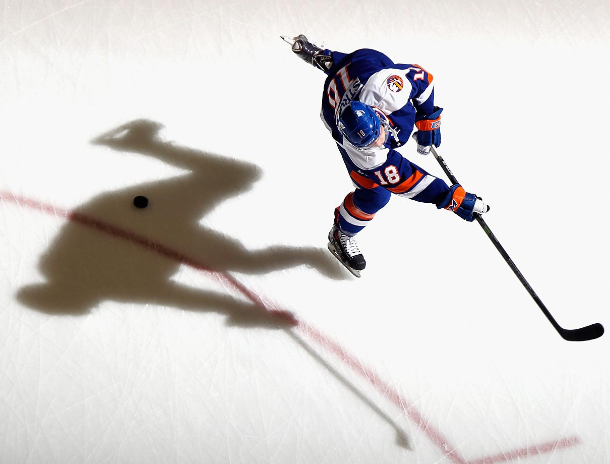 New York Islanders forward Ryan Strome can't escape his own shadow during a game against the Anaheim Ducks at the Nassau Veterans Memorial Coliseum on Saturday.
