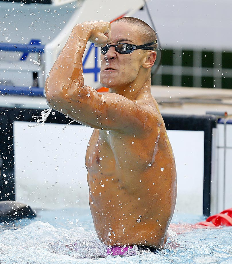 Andreas Mickosz reacts after finishing second in the 200-meter breastsroke at the Maria Lenk Trophy meet in Brazil.