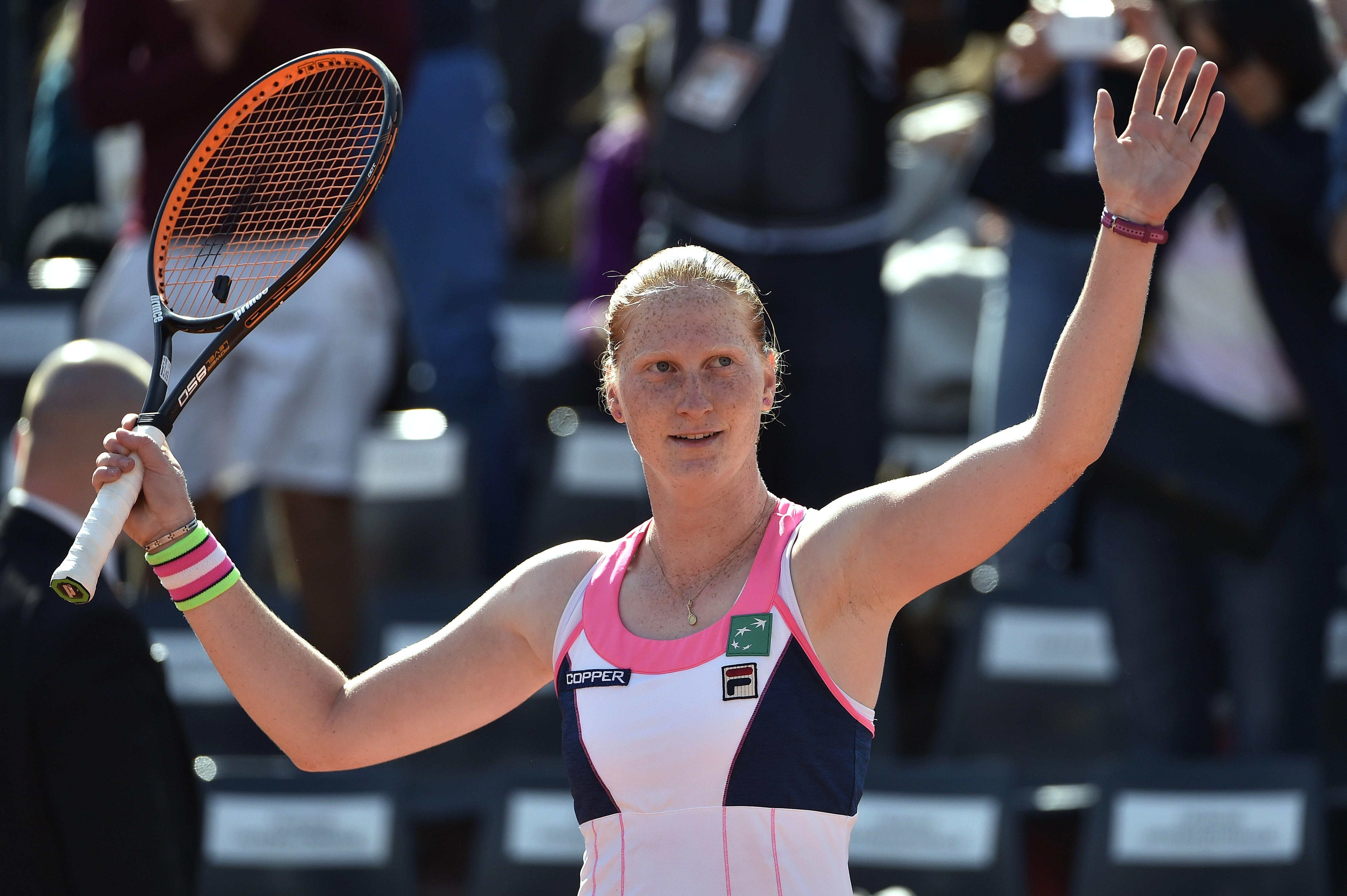 Van Uytvanck celebrates her victory over Andreea Mitu.