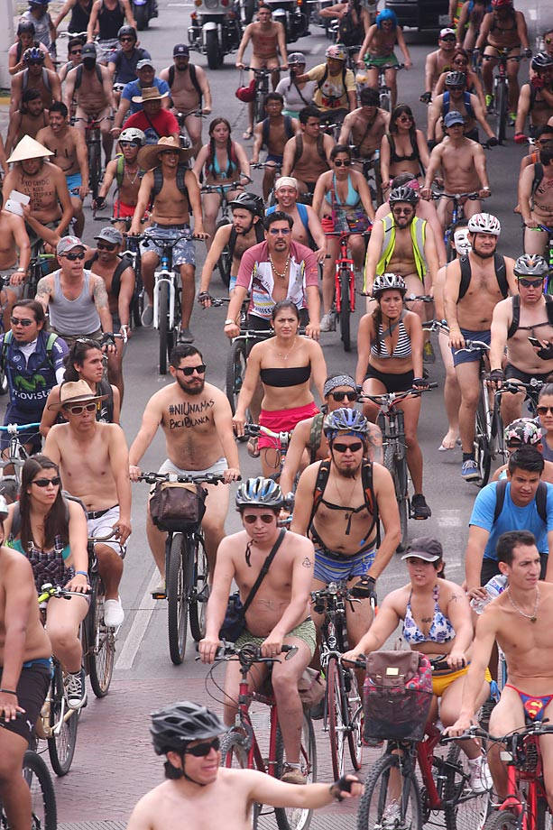 A slew of naked bikers rides through Guadalajara, Mexico, on June 6 in an effort to protest against gas emissions and promote alternative forms of transportation.