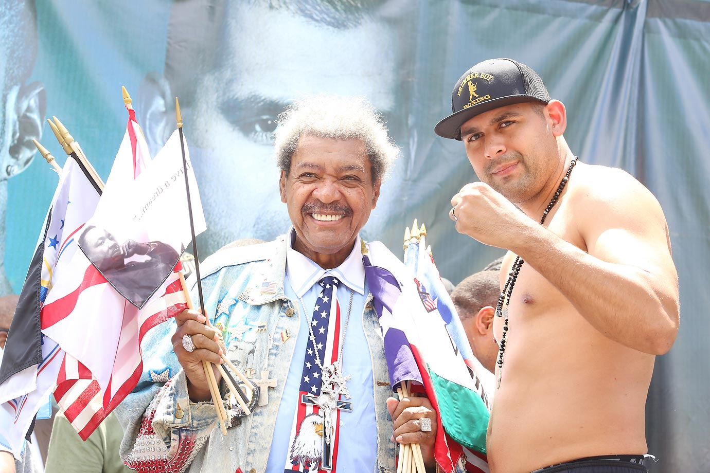WBC Heavyweight contender Eric Molina poses with Don King after his weigh-in for his bout against WBC heavyweight champion Deontay Wilder.