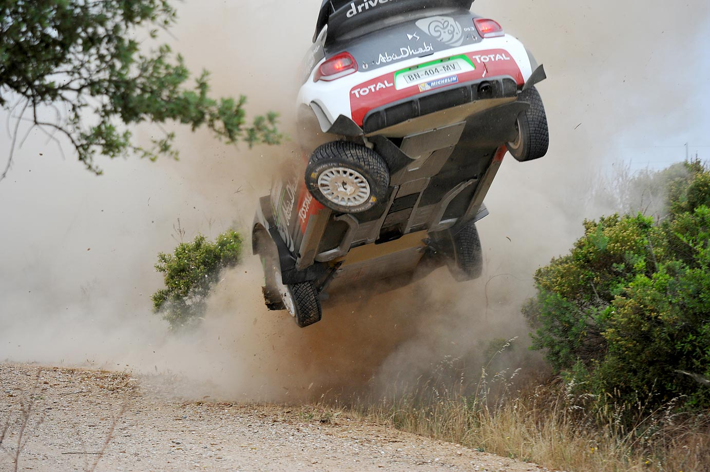 Kris Meeke of Great Britain and Paul Nagle of Ireland crashed their Citroen during a special stage race at the WRC Italia Sardinia.