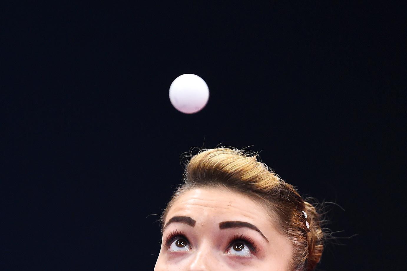 Bernadette Szocs of Romania competes in a Team Table Tennis first-round match at the Baku 2015 European Games.