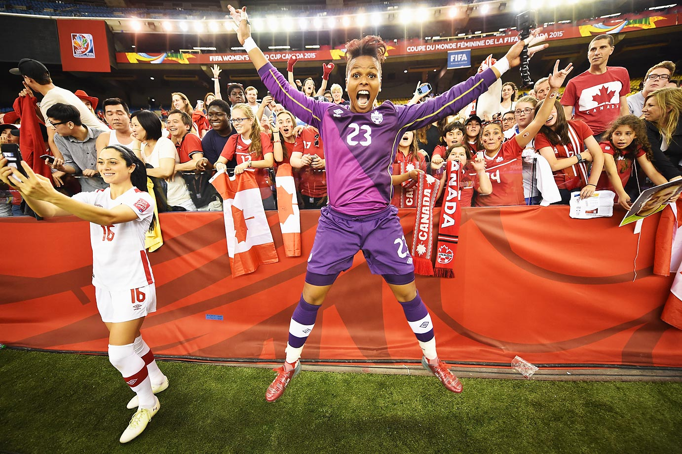 Karina LeBlanc of Canada celebrates after the Netherlands and Canada game.