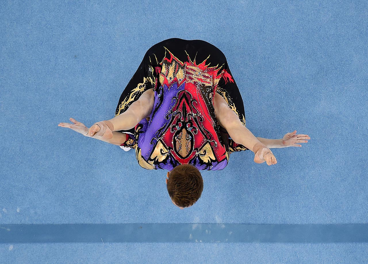 Marina Chernova and Georgy Pataraya of Russia compete in the Gymnastic Acrobatic Mixed Pair Dynamic Qualification at the Baku 2015 European Games.