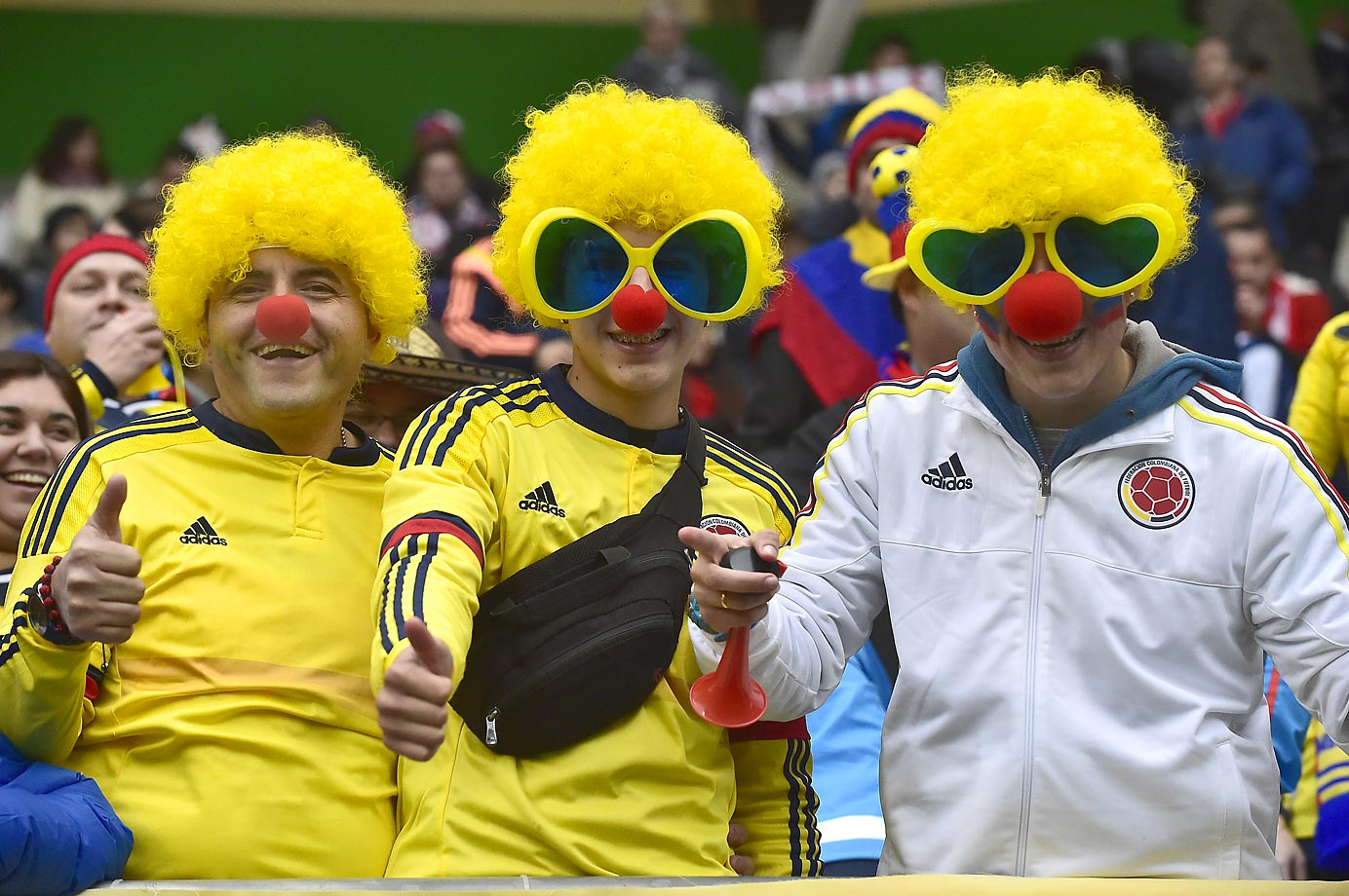 Fans of Colombia wait for the start of the 2015 Copa America football championship match between Colombia and Peru.