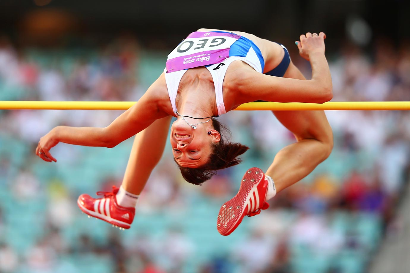 Valentyna Liashenko of Georgia competes in the high jump during the Baku 2015 European Games.