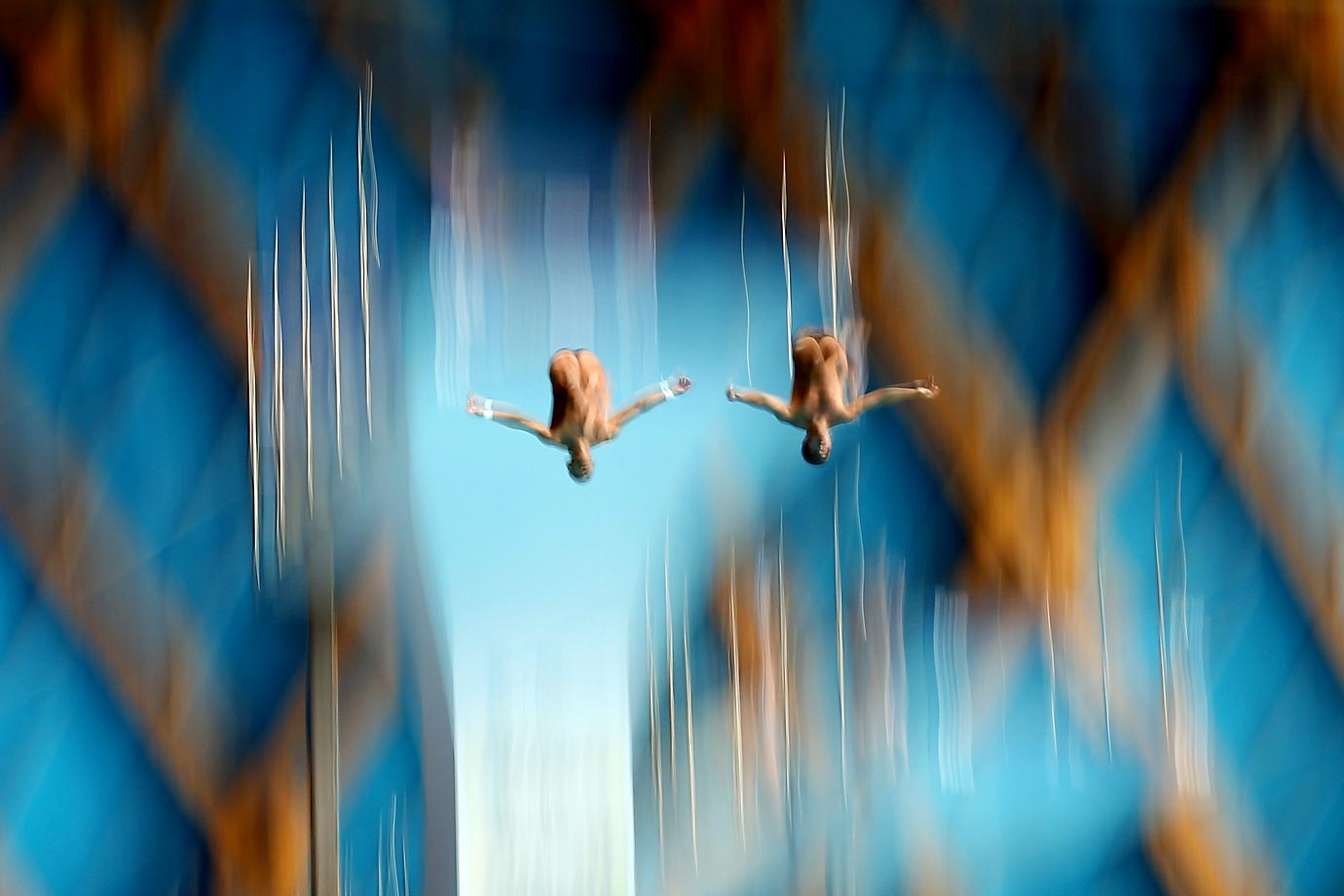 Victor Hugo Ortega Serna and Juan Guillermo Rios Lopera of Colombia compete in the 10m Platform Synchronised Diving Final at the 16th FINA World Championships in Kazan, Russia.