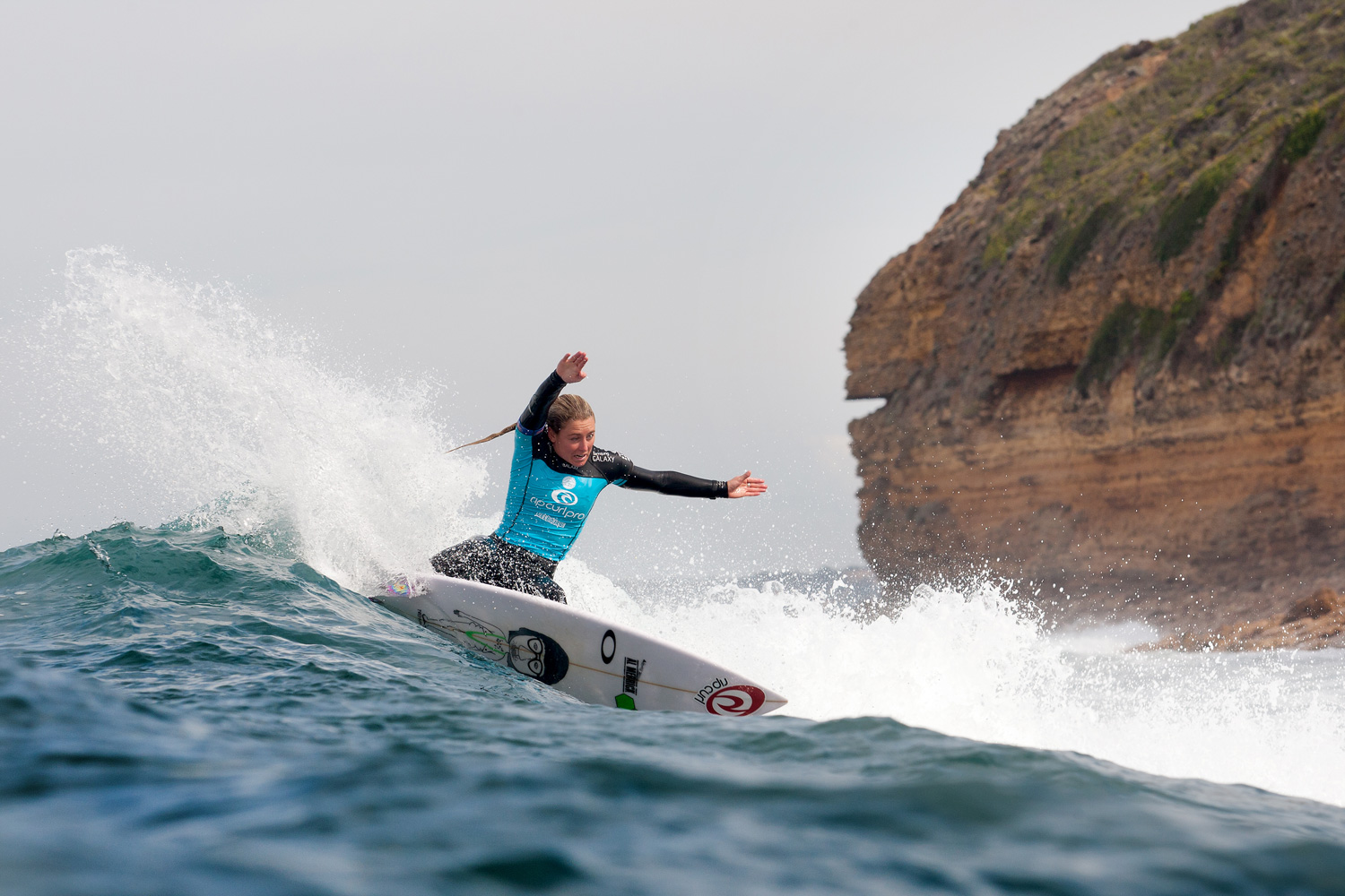 Nikki Van Dijk advances into Round 3 of the Rip Curl Pro Bells Beach on April 16, 2014 in Bells Beach, Australia.
