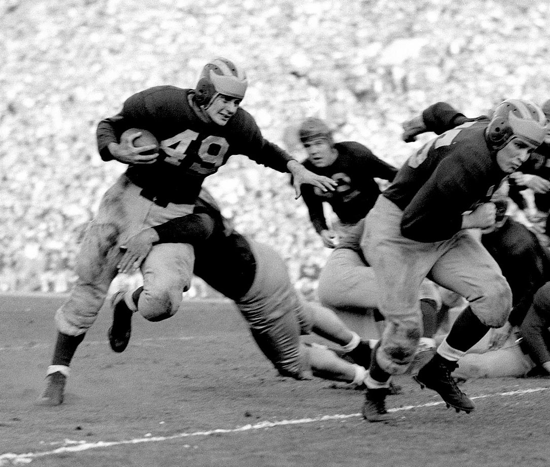 He returned from World War II to become a Wolverine legend. Chappuis led the Big Ten in total offense twice and helped lead Michigan to an undefeated season and 49-0 victory over Southern California in the 1948 Rose Bowl. — Runner-up: Bob Mathias, FB, Stanford (1948-50)