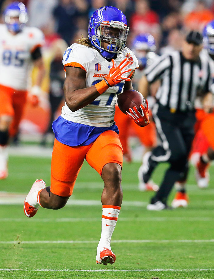 In 2014, Ajayi became the only person in FBS history to amass 1,800 rushing yards and 500 receiving yards in the same season.