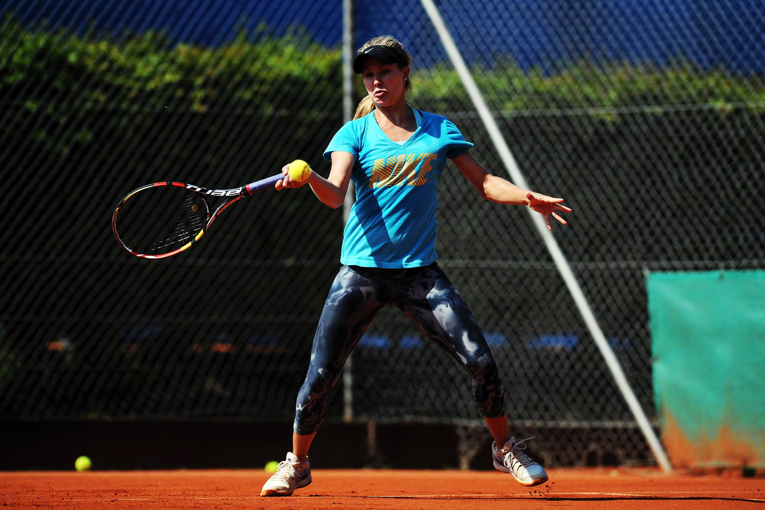 Eugenie Bouchard practices during a training session at the Nuernberger Versicherungscup on May 19, 2014.