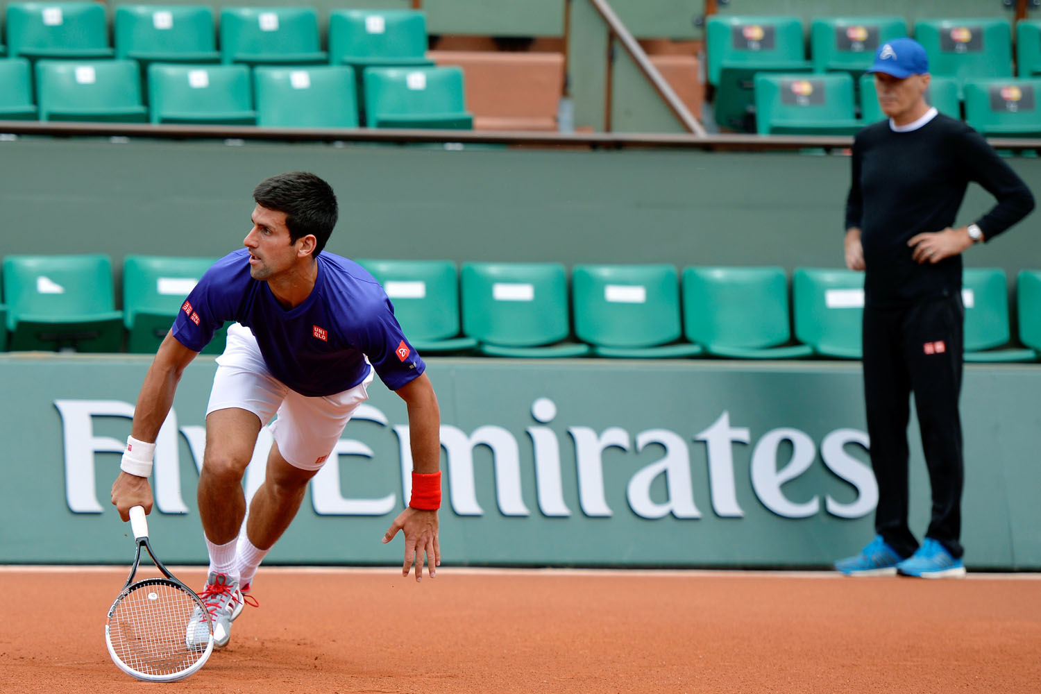 Serbia's Novak Djokovic trains at the Roland Garros stadium in Paris on May 23, 2014, ahead of the start of the Grand Slam tennis tournament.
