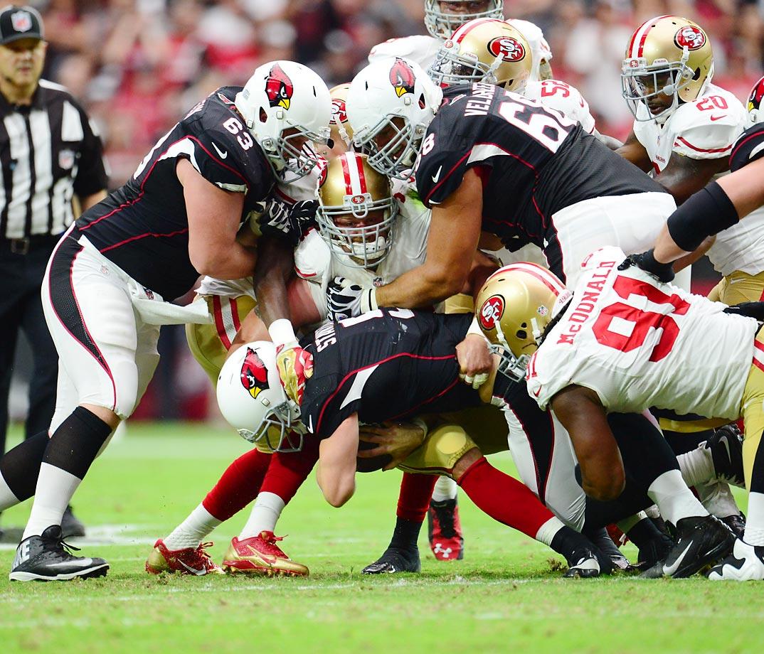 Arizona quarterback Drew Stanton goes down during the Cardinals 23-14 win over San Francisco.