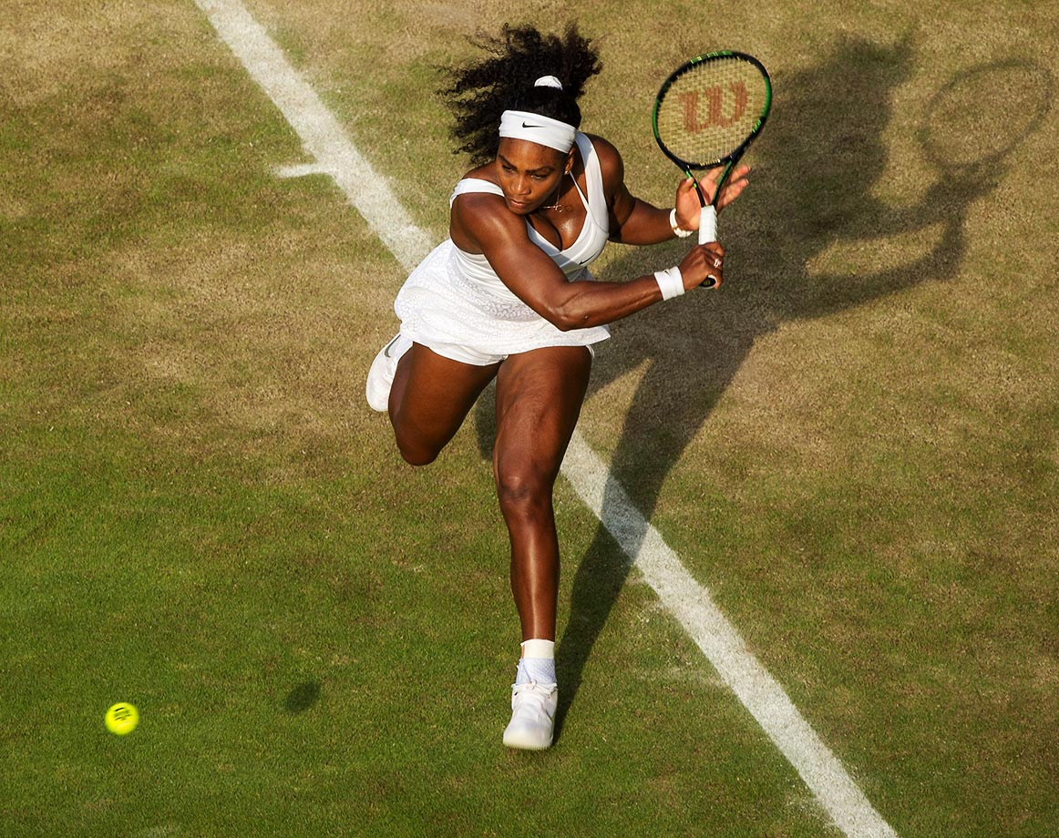 "Serena defeated Heather Watson, her sister Venus, Victoria Azarenka, Maria                                   Sharapova and finally Garbine Muguruza en route to her 21st Grand Slam                                   title at Wimbledon in 2015. She also completed the ""Serena Slam"" for the                                   second time in her career and moved one step closer to completing the                                   calendar Grand Slam."