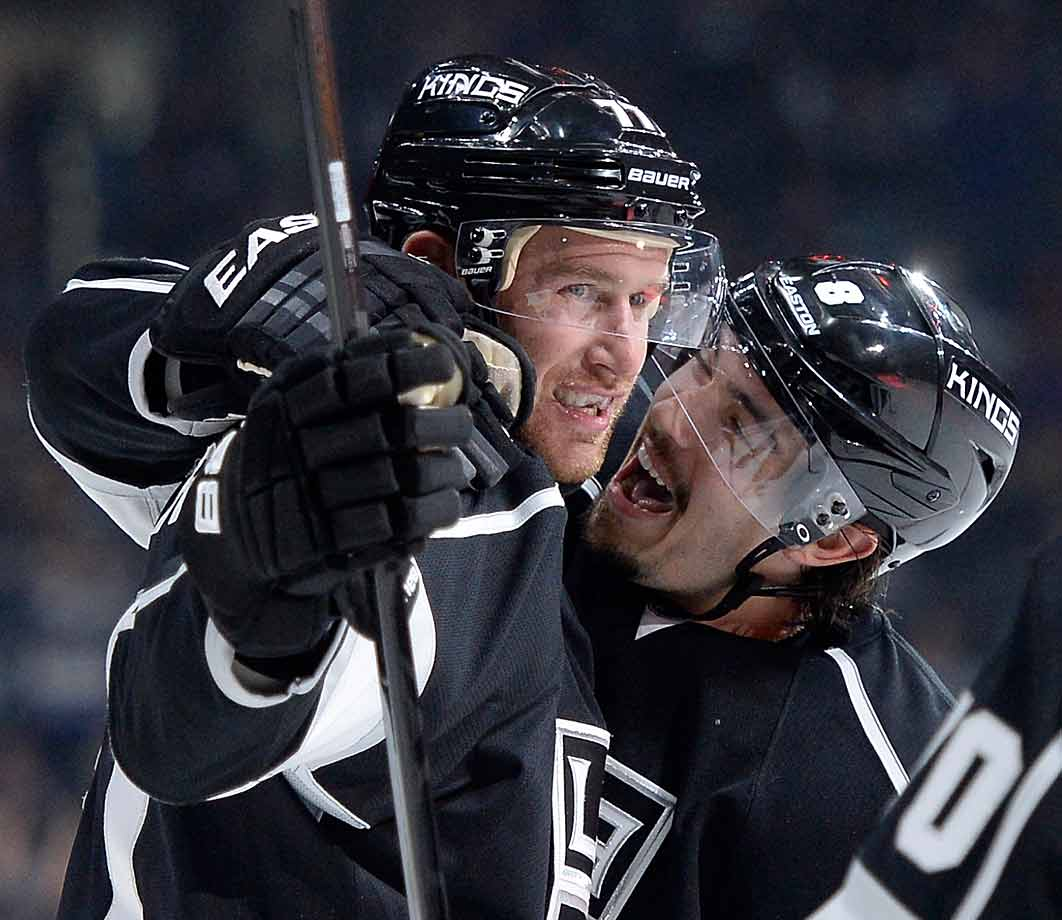 Carter's That 70s Line (so named because he and wingers Tyler Toffoli and Tanner Pearson all wear jersey numbers in the 70s) has been nothing short of a smash during the season's first month. Here, Carter is greeted by one of his fans after scoring against the Blue Jackets at LA's Staples Center on Oct. 26, 2014.