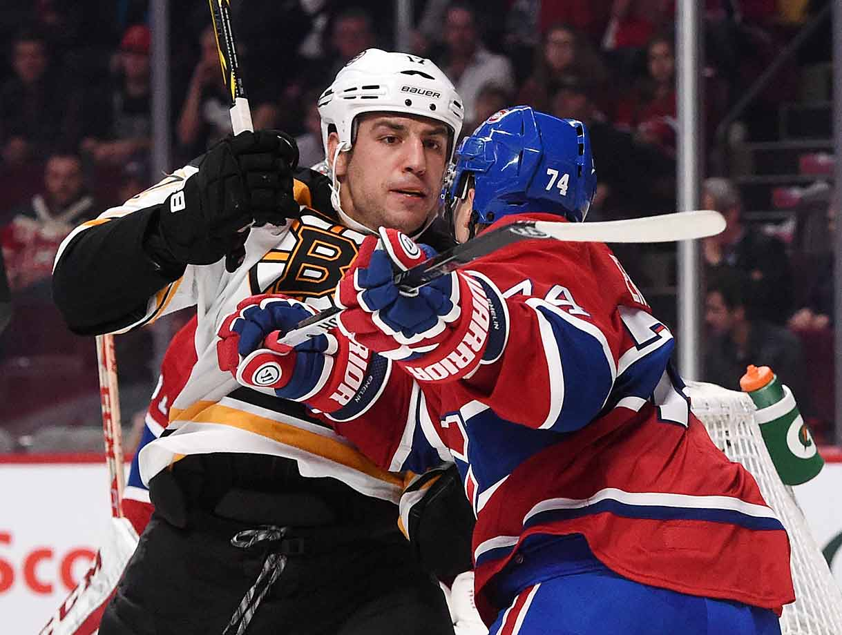 Boston's burly winger, who infamously uttered a death threat at the Canadiens' Dale Weise in the handshake line after their playoff series last spring, was feeling all warm and fuzzy when the teams met for the first time this season in Montreal on Oct. 16. Along with this bout against Alexei Emelin, Lucic was fined $5,000 by the NHL for making a lewd gesture at the Habs' faithful after he took a penalty in the Bruins' loss. He later apologized.