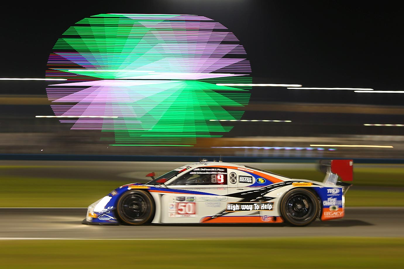 Night practice for the Rolex 24 At Daytona, at Daytona International Speedway.