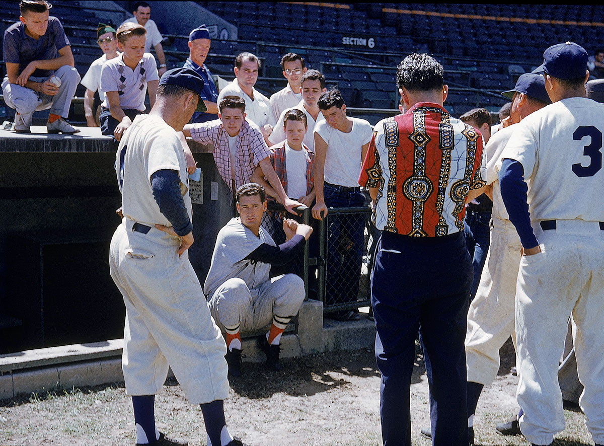 Spring Training, March, 1956 | Six-time batting champion Ted Williams discusses hitting during the Red Sox's spring training in Florida. Williams, then 37, hit .345 with a major-league best .479 on-base percentage during the season.