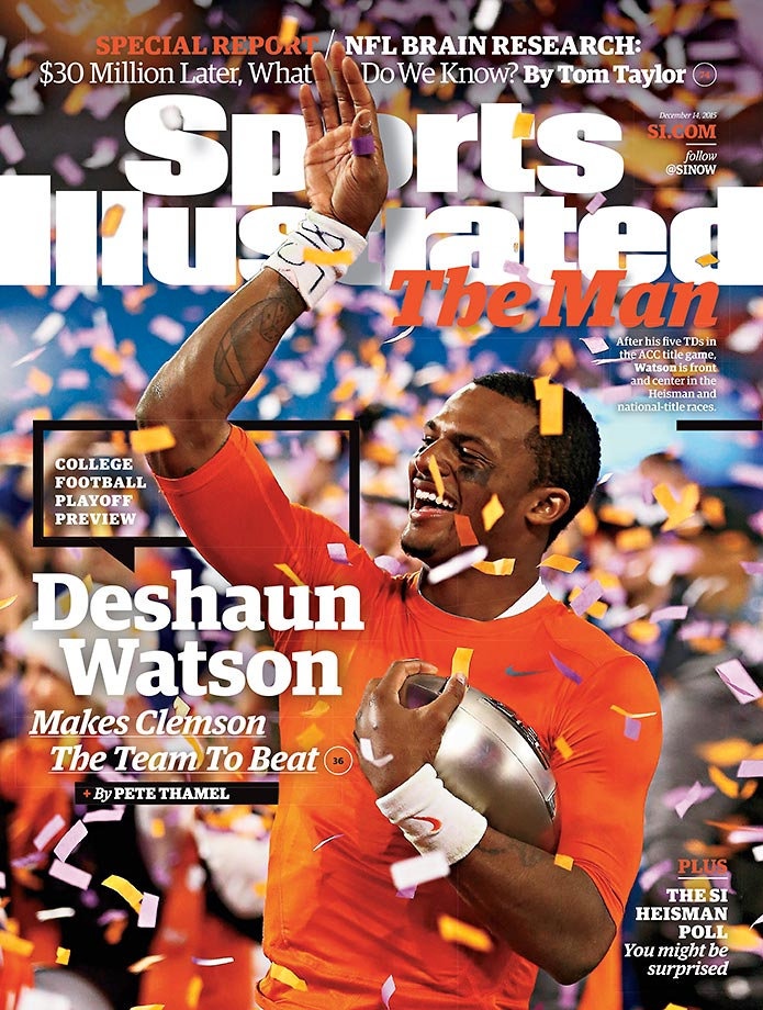 December 14, 2015 | Clemson quarterback Deshaun Watson, one of the finalists for the Heisman Trophy, is featured on the College Football Playoff preview issue of Sports Illustrated.