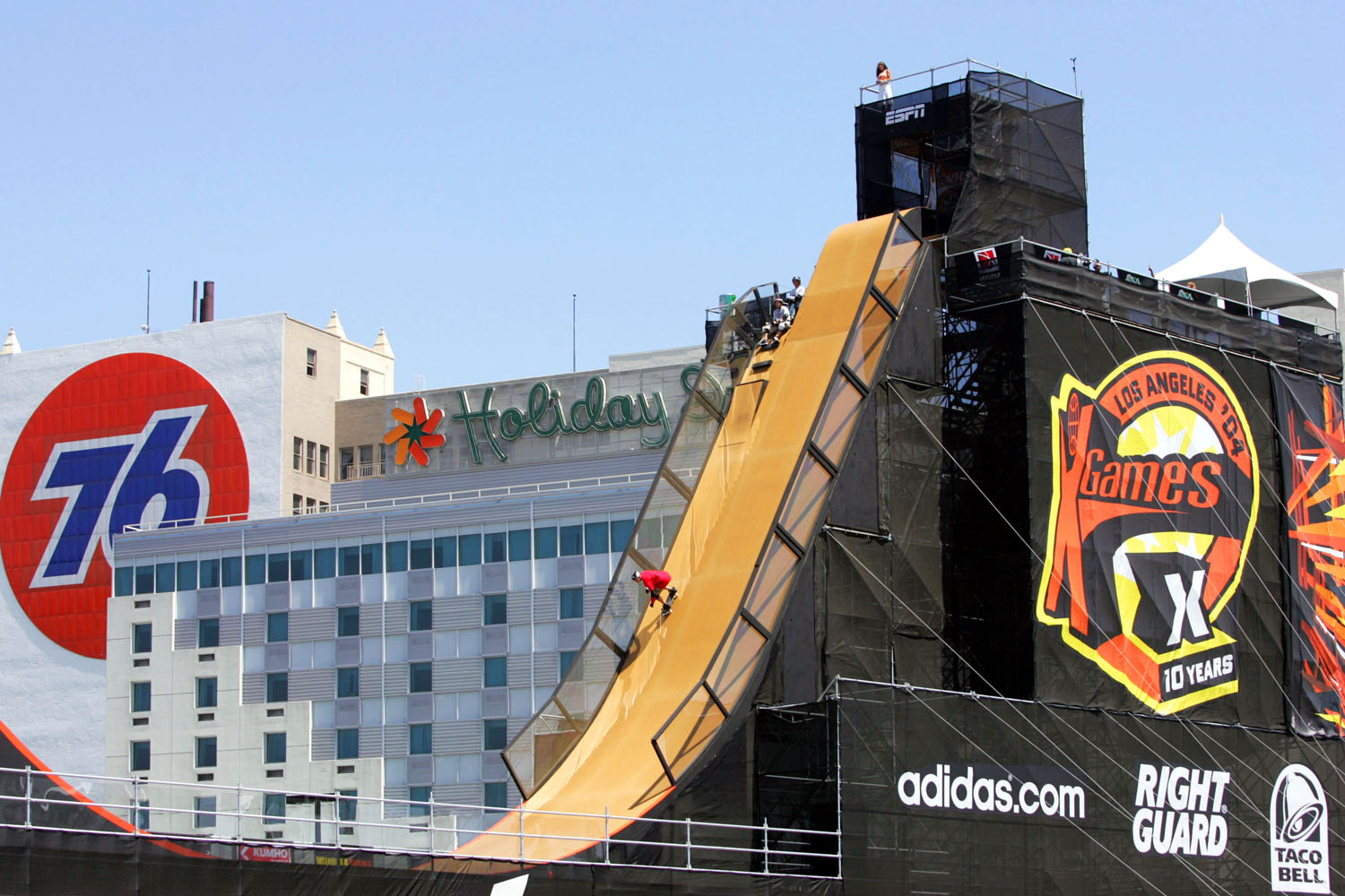 Danny Way drops into the ramp during the Skateboard Big Air competition during X Games 11 on August 6, 2004 at the Staples Center in Los Angeles, California.
