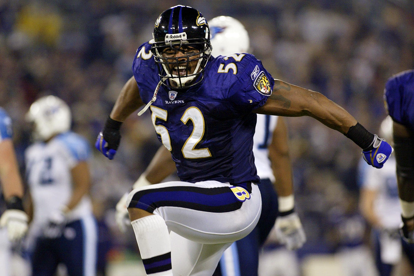 Keeping things on the field here, Lewis's 2000 season may have been the best by any linebacker in league history. He was the Defensive Player of the Year and the Super Bowl MVP and was virtually unstoppable throughout the year. Even at the end of his career, when his physical gifts had diminished, he was the Ravens' supreme motivational force.