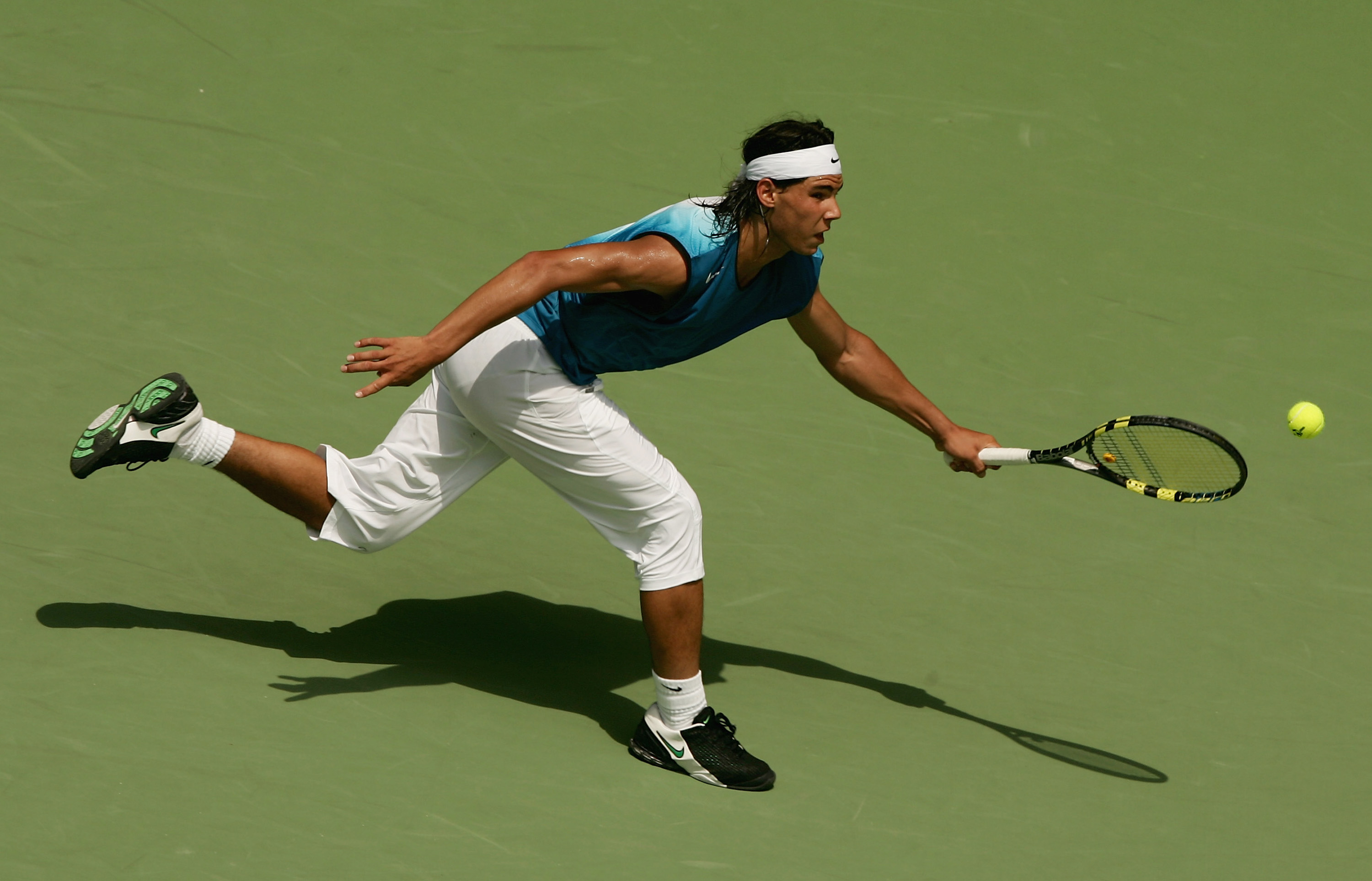 "The addition of his ""piratas"" marked the birth of Nadal's trademark look: sleeveless tops and capri-length pants."
