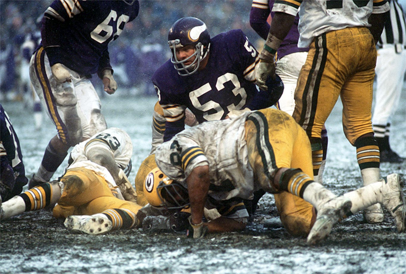 Tingelhoff over Harry Carson and Randy Gradishar? Yes, because he was the heart of the Vikings' offense through the rough expansion years and on the teams that went to four Super Bowls. He never missed a game throughout his 17-year career—that's 240 regular season and 19 playoff games, playing at an All-Pro level all the way through.