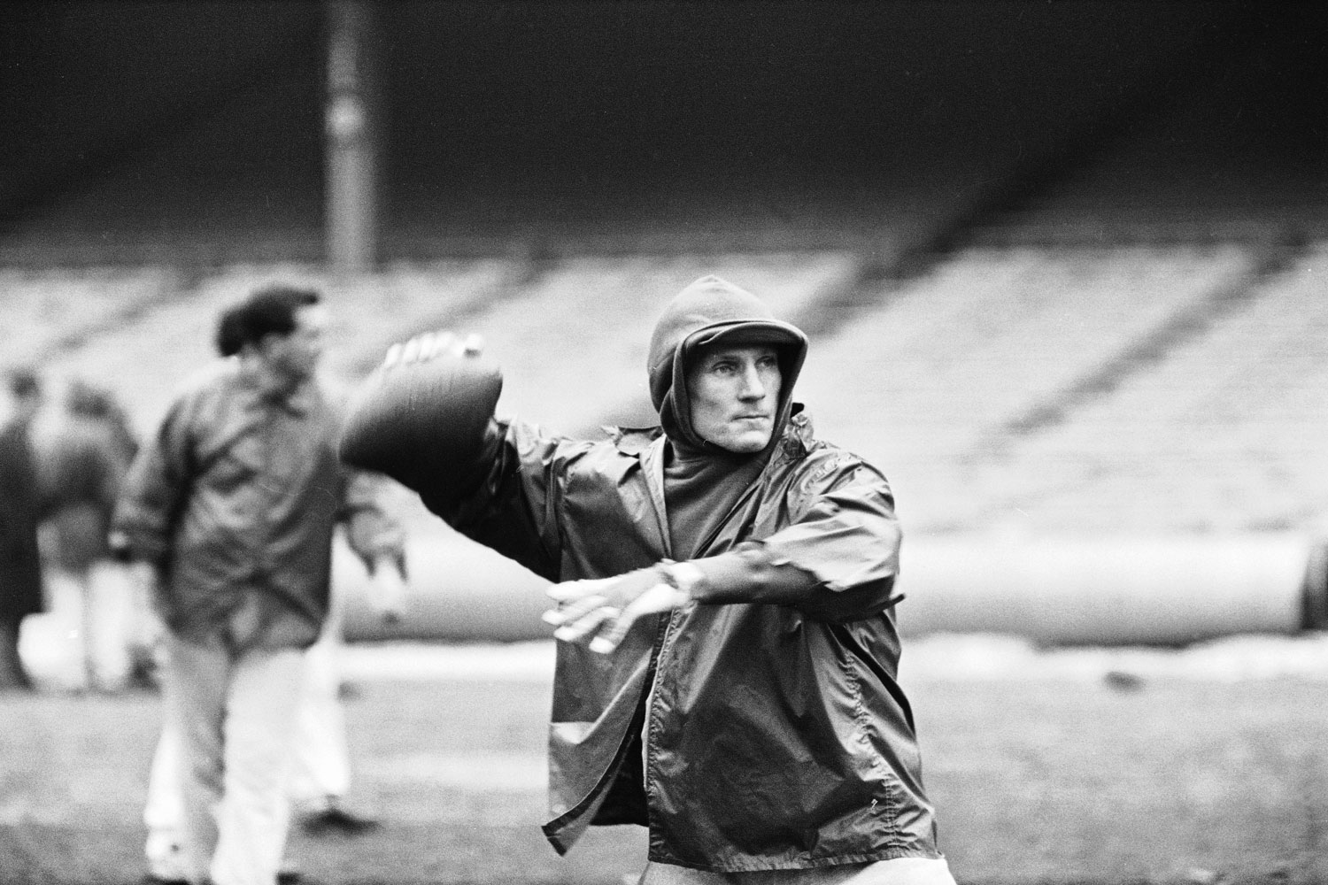 New York Giants quarterback Y.A. Tittle works on his passing during a practice at Yankee Stadium, New York, 1963. Tittle played with the Giants from 1961 to 1964.