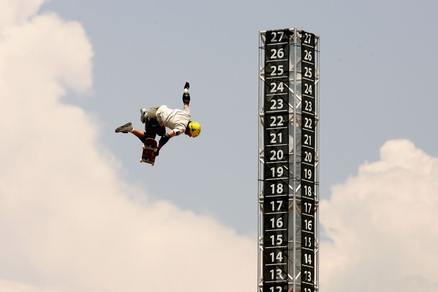 Andy Macdonald performs a trick in the Skateboard Big Air competition during X Games 11 on August 7, 2005 at the Staples Center in Los Angeles, California.