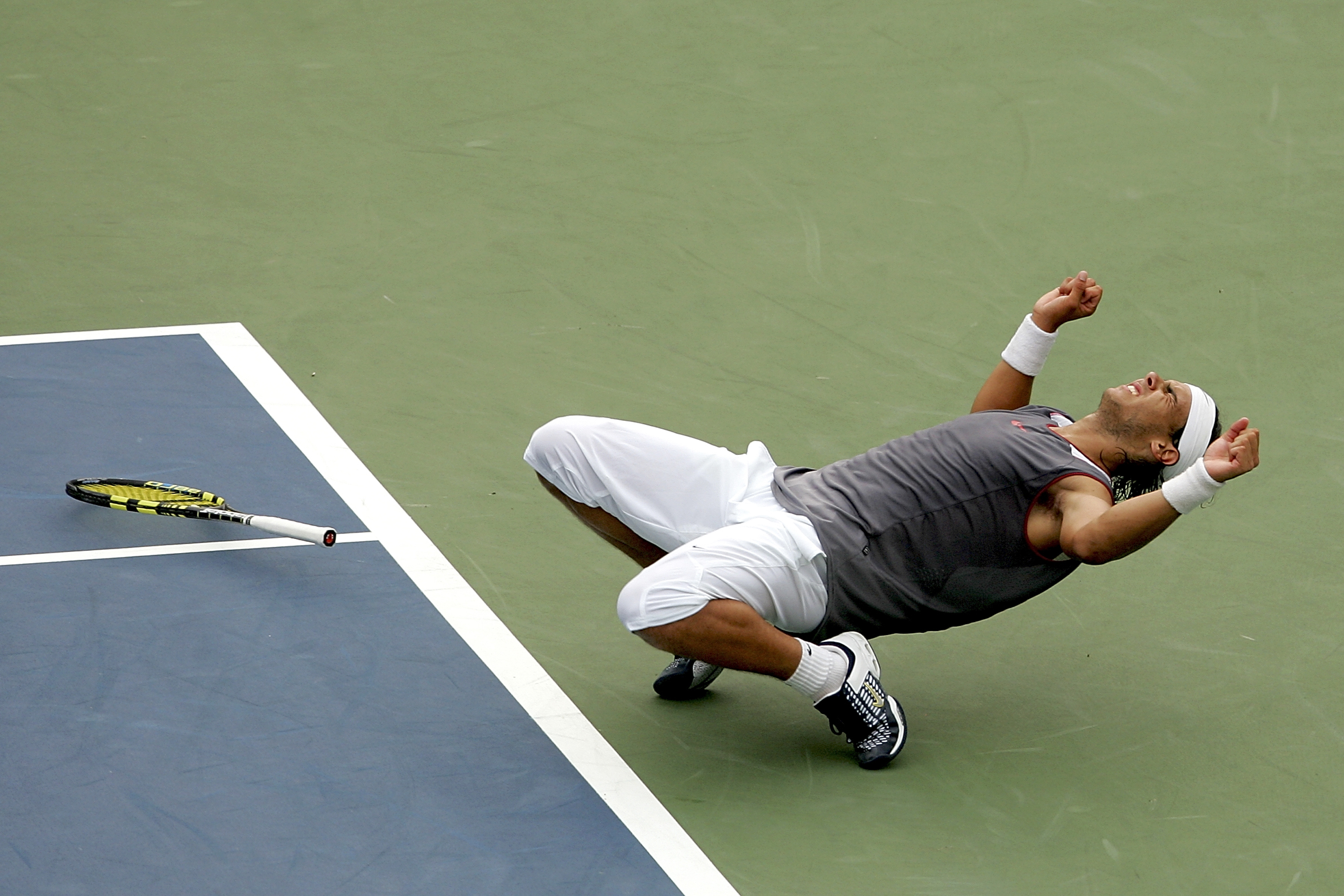 Nadal sported a rare monochrome top for his win over Andre Agassi in the final of the Rogers Cup.